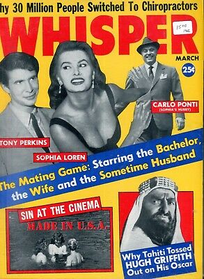 Whisper Vintage Magazine Sophia Loren/Anthony Perkins March 1962 061318lm-ep