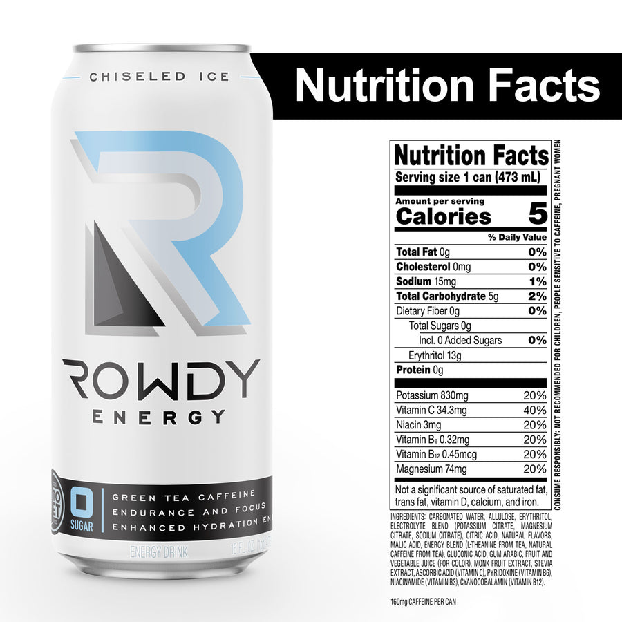 Rowdy Energy Drink Chiseled Ice Zero Sugar Nutrition Facts, Sugar Free Energy Drink, 160 mg of Caffeine, Vitamins B6 and B12, Keto, Packed with Electrolytes for Enhanced Hydration.