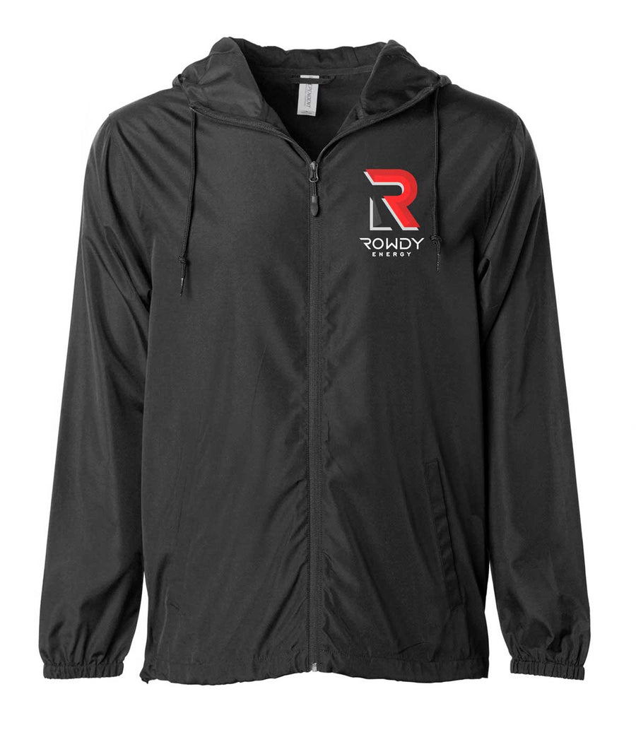 Rowdy Energy Lightweight Zip Jacket all black with Rowdy Energy logo on the left chest