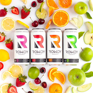 Rowdy Energy Drinks along with all the natural fruits included in our drinks