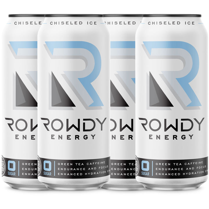 Rowdy Energy Chiseled Ice 4-Pack, Sugar Free Energy Drink, 160 mg of Caffeine, Vitamins B6 and B12, Keto, Packed with Electrolytes for Enhanced Hydration.