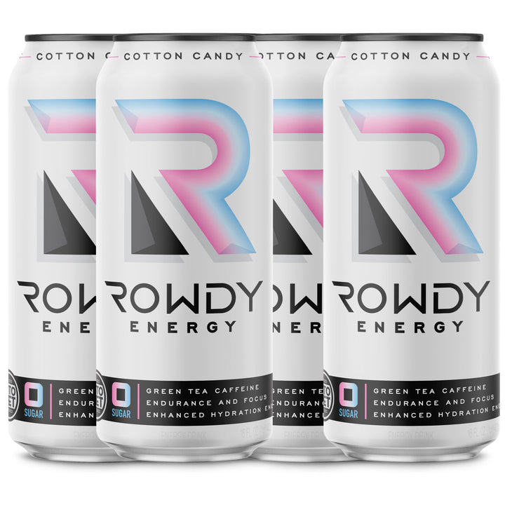 Rowdy Energy Cotton Candy, Sugar Free Energy Drink, 160 mg of Caffeine, Vitamins B6 and B12, Keto, Packed with Electrolytes for Enhanced Hydration.
