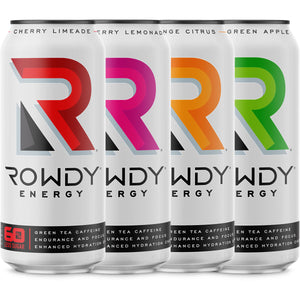 Rowdy Energy Drink 4-Pack Starter. One can of each original flavor.