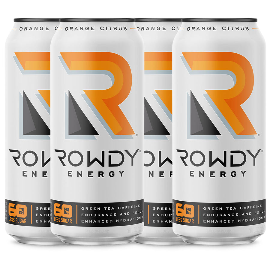 a 4-pack of Rowdy Energy Drink Orange Citrus flavor