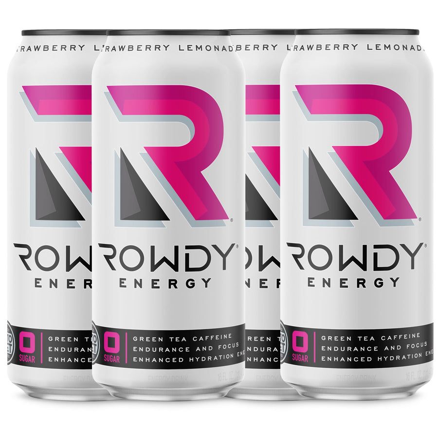 4 cans of Rowdy Energy Strawberry Lemonade