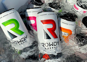 Rowdy Energy Drinks in a cooler of ice cold water
