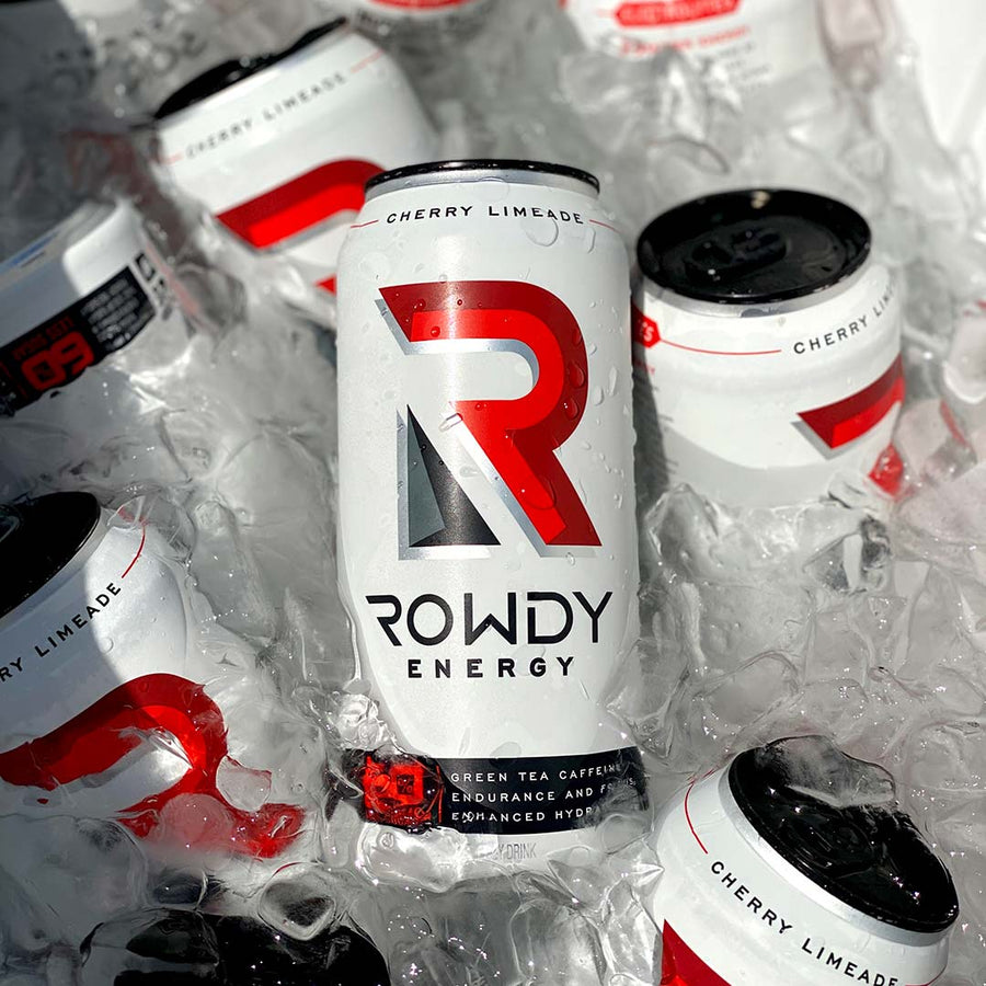 Rowdy Energy Cherry Limeade flavor in a cooler of ice