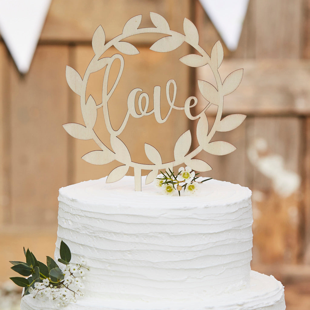 "Holz Caketopper ""Love"""