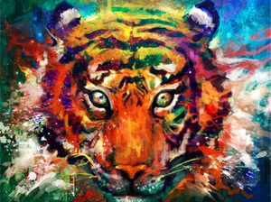 Colorful Tiger 2 - Painting by number set 40x50cm including frame - painting by gene