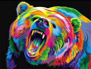 The colorful bear-2 - Paint by number kit 40x50cm including a list of - painted-by-gene