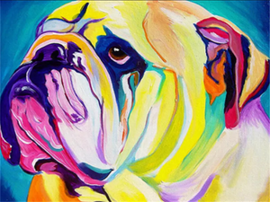 Colorful dog 4- Painting on number set 40x50cm including list -painting by gene