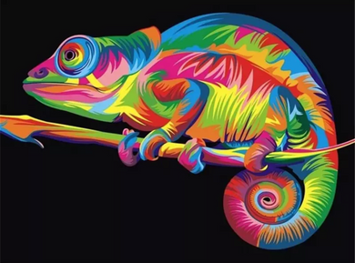 Colorful chameleon - Painting on number set 40x50cm including list - painting by gene
