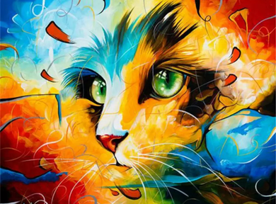 Colorful kitten 2 - Painting on number set 40x50cm including list - painting by gene