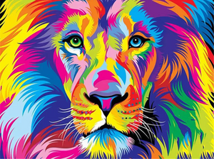 Colorful lion 2 - Painting by number set 40x50cm including frame - painting by gene