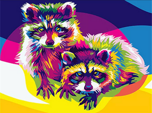 Colorful raccoons - Painting by number set 40x50cm including frame - painting by gene