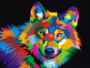 Colorful wolf 2 - Paint by number kit 40x50cm including a list of - painted-by-gene