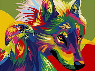 Colorful wolf 3 - Painting by number set 40x50cm including frame - painting by gene