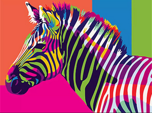 Colorful zebra - Painting on number 40x50cm including list - painting by gene