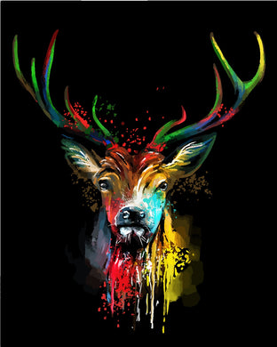 Colorful deer 01- Painting by number set 40x50cm including frame