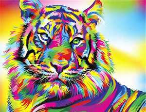 03 - colorful Tiger 40x50cm paint by numbers set including list - painting by gene