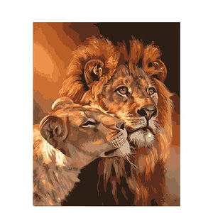 Leone e leonessa - Paint by number kit 40x50cm, compreso l'elenco