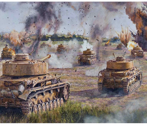 Paint by numbers set tanks - including list - 40x50cm painting by gene