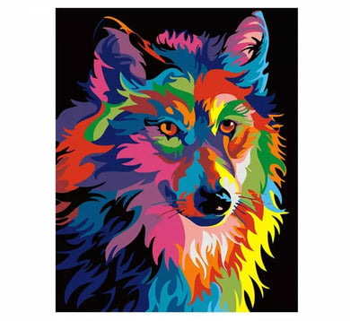 Colorful Wolf - Painting by number set 40x50cm including list - painting by gene