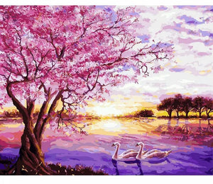 Purple Romantic - Painting on number set 40x50cm including list - painting by gene