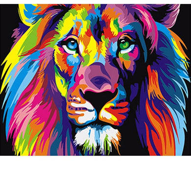 Colorful lion - Painting on number 40x50cm including list - painting by gene