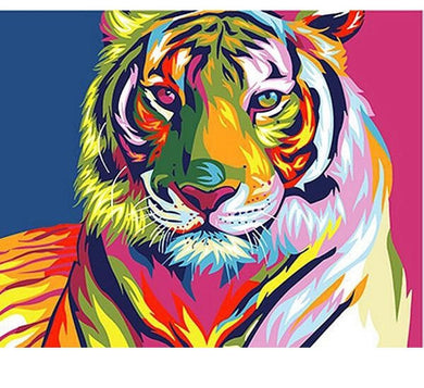 Colorful Tiger - Painting by number set 40x50cm including frame - painting by gene