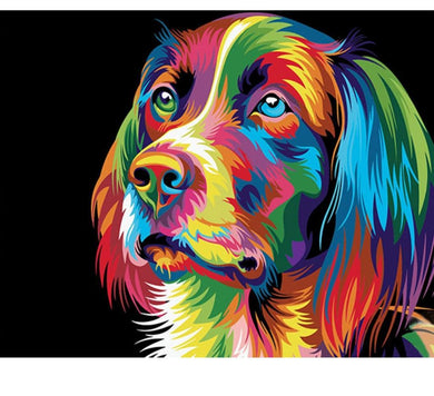 Variegated dog - Painting on number set 40x50cm including list - painting by gene