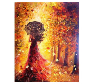 Beautiful woman in an autumn landscape - Painting by number set 40x50cm including frame - painting by gene