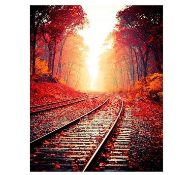 An autumn landscape - rails to paint by numbers set 40x50cm including list - painting by gene