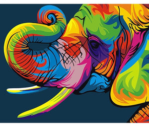 Colorful elefant Painting on number set 40x50cm compreso List Painting by gene