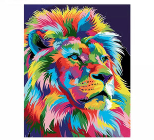 Lion looking right 40x50cm paint by numbers set - including list - painting by gene