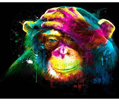 Colorful monkey - Painting by number set 40x50cm including frame - painting by gene