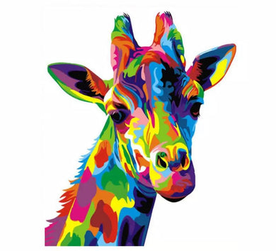 Colorful giraffe - Painting on number 40x50cm including list - painting by gene