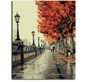 Autumn - Painting by number set 40x50cm including frame - painting by gene