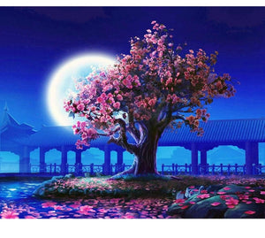 Romantic Moon - Painting by number set 40x50cm including frame - painting by gene