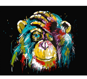 2 - colorful monkey 40x50cm paint by numbers set including list - painting by gene