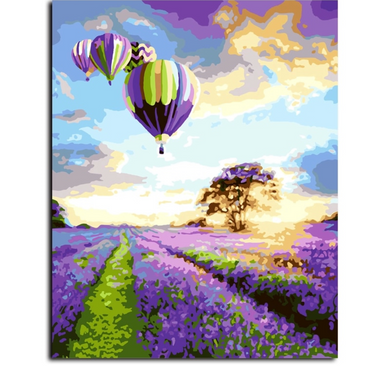 Hot air balloons - Painting by number set 40x50cm including frame - painting by gene
