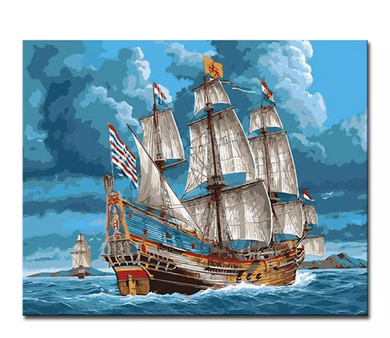 VOC ship - Painting by number set 40x50cm including frame - painting by gene