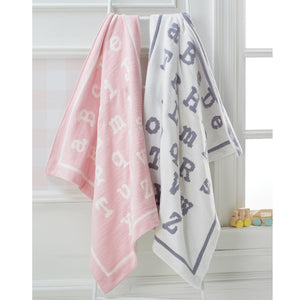 Mud Pie ABC Chenille Blanket-Pink/Cream