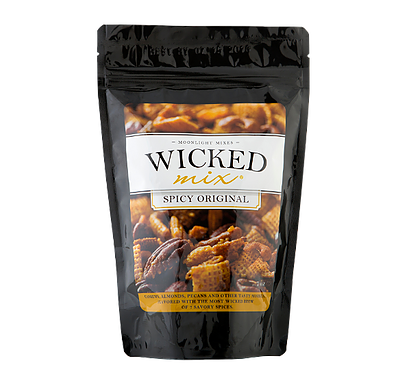 Made with Pecan Halves, Cashews, Almonds plus 4 other tasty morsels.  Those 7 components are then spiced with a wicked brew containing spices, some secret, some not, resulting in a tasty snack mix that cannot be adequately described, only experienced. It's got a kick that is wicked good!