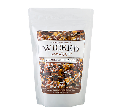 Our Spicy original Mix, drizzled with rich dark and white chocolate. The perfect balance of sweet, salty and spicy!  It's Wicked Good!