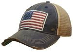 American Flag  These Vintage Life trucker hats are the cutest hats around!  Made of breathable fabric, our hats provide a relaxed everyday fit.  Features an adjustable snapback strap. Unisex hat.  Distressed blue.