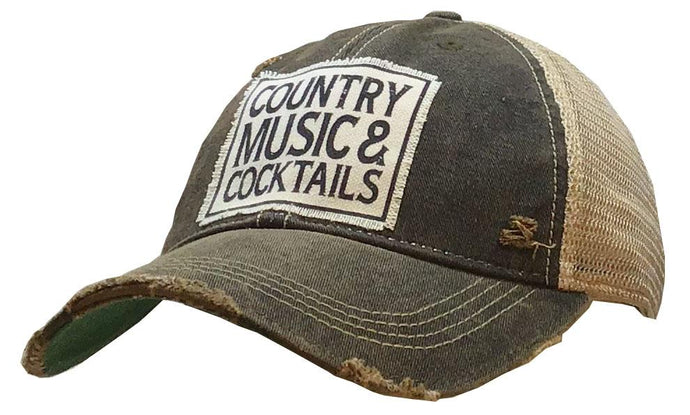 Country Music And Cocktails  These Vintage Life trucker hats are the cutest hats around!  Made of breathable fabric, our hats provide a relaxed everyday fit.  Features an adjustable snapback strap. Unisex hat.  Distressed black.