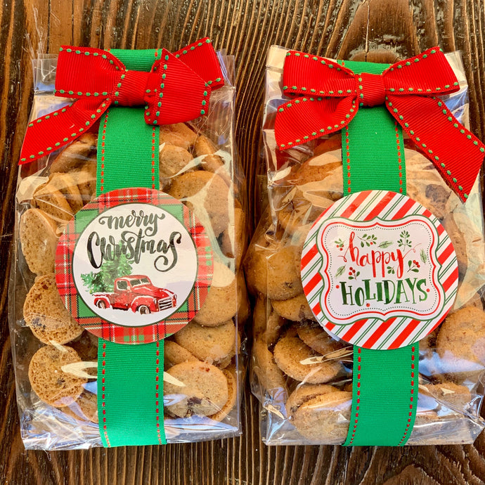 View Larger [+] CHOCOLATE CHIP COOKIES 5OZ CELLO BAG Item #: CC05B The original and #1 selling  chocolate chip cookie filled with buttery perfection and gourmet chocolate chips in a 5oz cello bag with ribbon and bow.