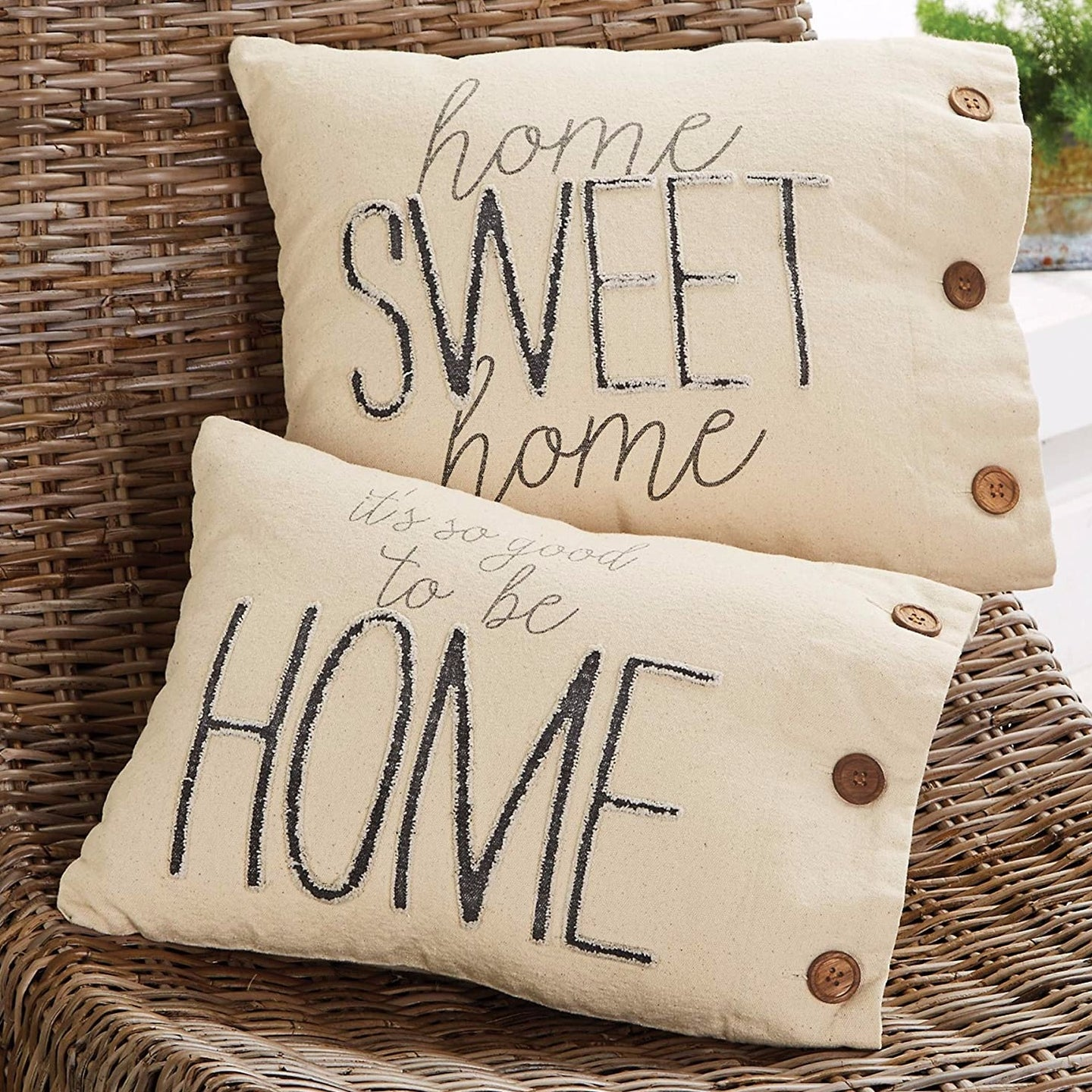 Home Sweet Home Pillows (Sold As A Pair)  Canvas Printed canvas pillow Features frayed washed canvas applique wooden button detail.