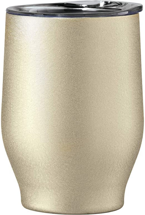 A stainless steel double wall vacuum insulated tumbler is great for red or white wine.  This gold wine cup is perfect for any beverage and can be monogrammed to add personalization.